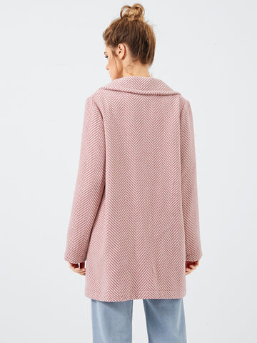 Coats - Women's Trendy Pink Notched Collar Buttoned Coat