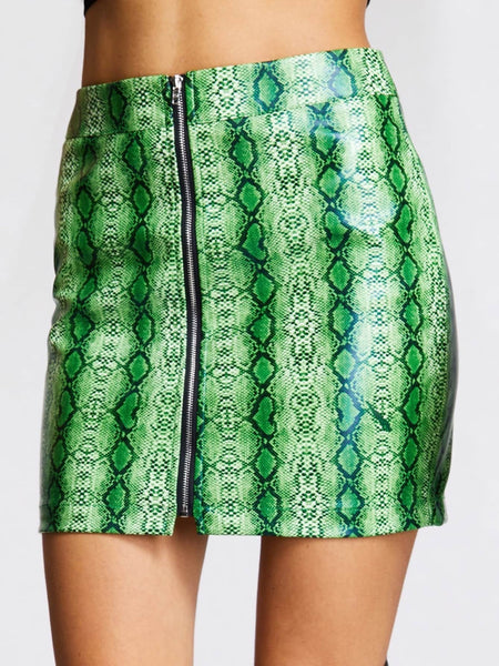 Zip Up Snakeskin Print Mini Skirt