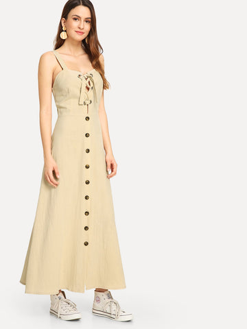 Day Dresses - Women's Trendy Apricot Single Breasted Lace Up Dress