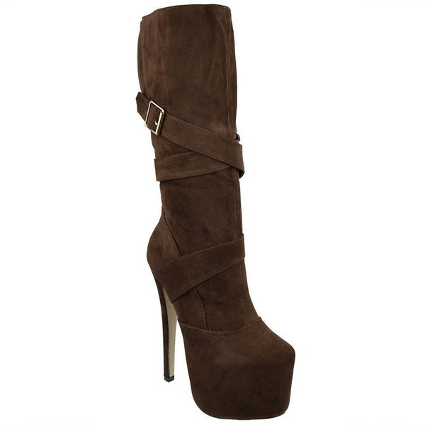 Brown Strappy Buckle Mid Calf Boots