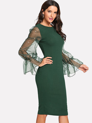 Green Pearl Beaded Mesh Sleeve Form Fitting Dress