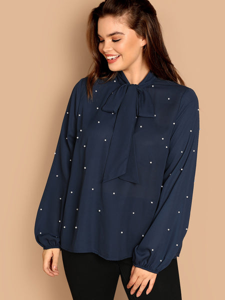 Plus Size Navy Blue Tie Neck Pearl Embellished Top