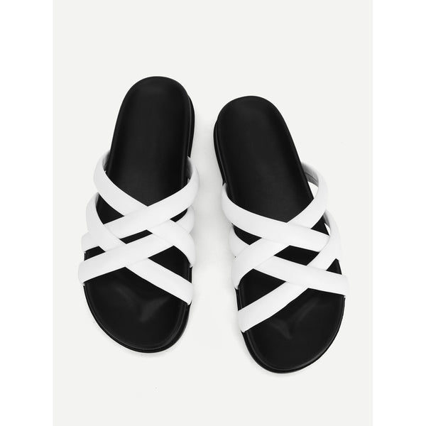 White Criss Cross Pu Slippers