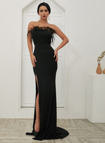 Evelyn Belluci Black Slit Evening Gown