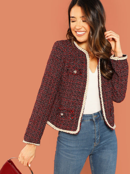 Red Open Front Rope Trimmed Tweed Jacket