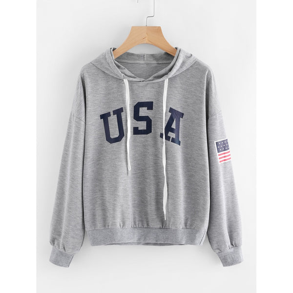 Grey Hooded Long Sleeve Pullover Top