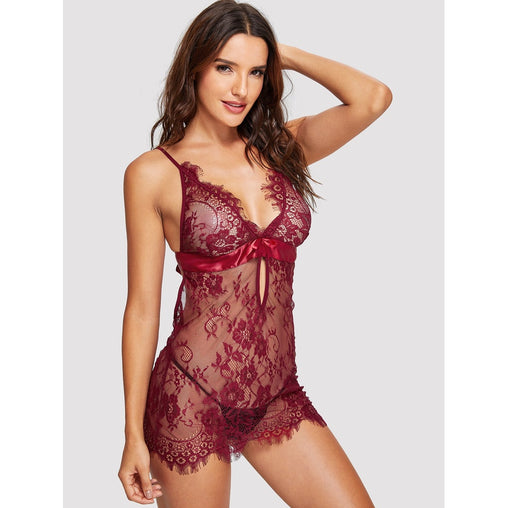 Burgundy Eyelash Lace Slips With Thong
