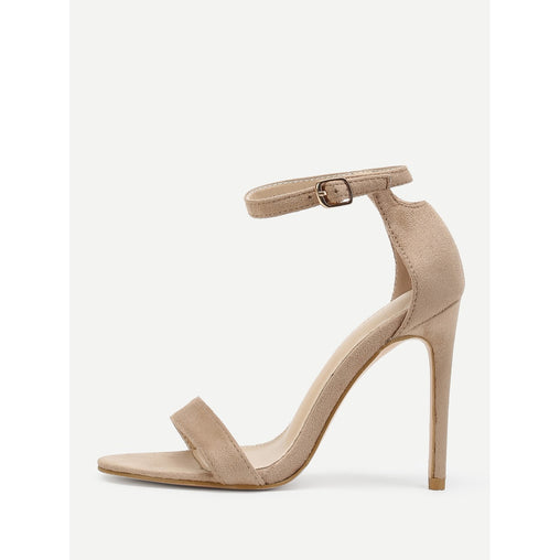 Apricot Peep Toe Ankle Strap Pumps