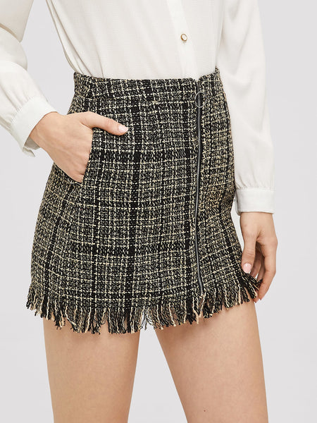 Zip Front Frayed Tweed Mini Skirt
