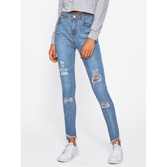 Frayed Hem Ripped Jeans - Fashiontage