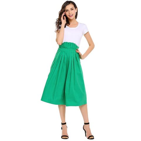 Asymmetric & Draped Skirts - Women's Trendy Black Pleated Cotton Skirt