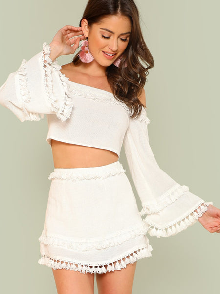 White Bell Sleeve Layered Tassel Trim Crop Bardot Top And Skirt Set