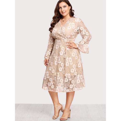 Plus Size Apricot Flounce Sleeve Surplice Wrap Floral Print Lace Dress