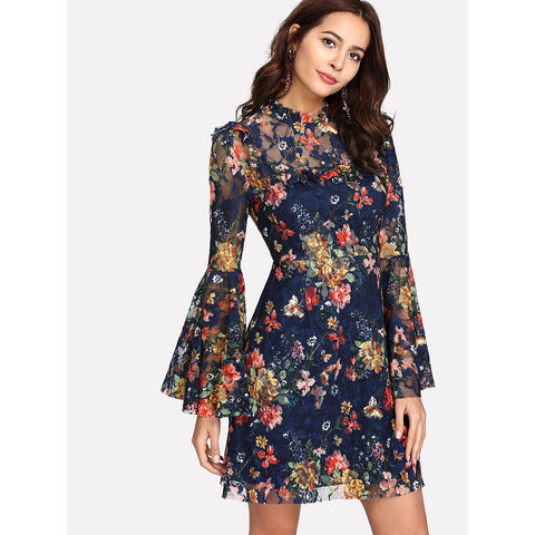 Multicolor Bell Sleeve Floral Ruffle Dress