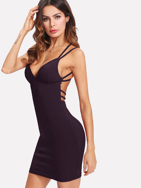 Purple Double Strappy Crisscross Back Mini Dress