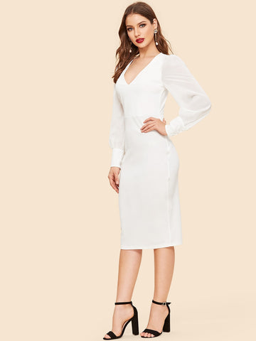 White Slit Back Form Fitting Midi Dress