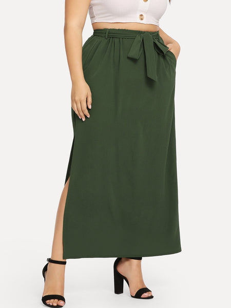 Plus Size Green Elastic Waist Belted Split Skirt