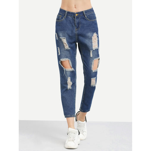 Ripped Loose Crop Jeans - Fashiontage