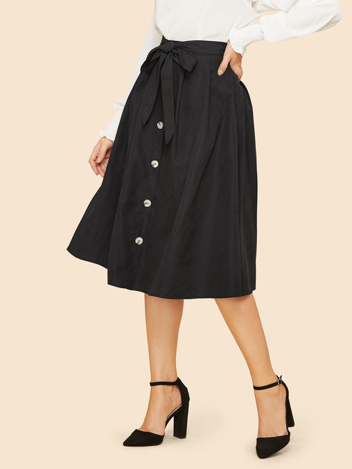 Black Knot Front Button Up Midi Skirt
