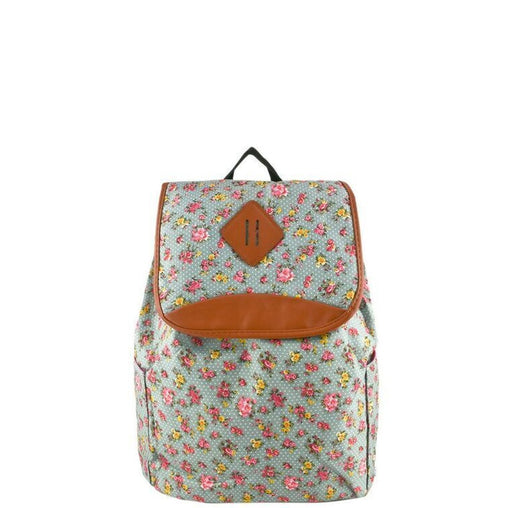 Brown Floral Print Leather Backpack