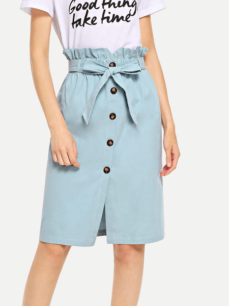 Blue Waist Belted Button Ruffle Split Skirt