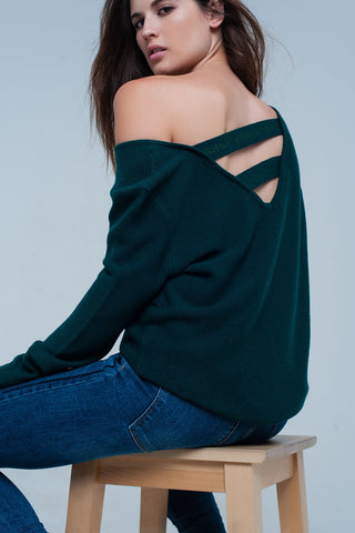 Shirts & Jersey Shirts - Women's Trendy Green V-Neck Long Sleeve Sweater