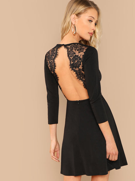 Black Lace Contrast Backless Dress