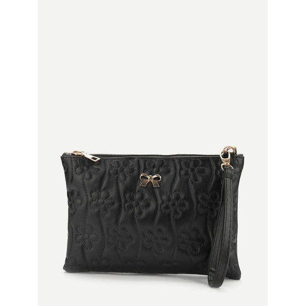 Messenger & Crossbody Bags - Women's Trendy Black Bow Flower Print Stitch Crossbody Bag