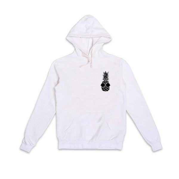 White Hooded Print Sweater