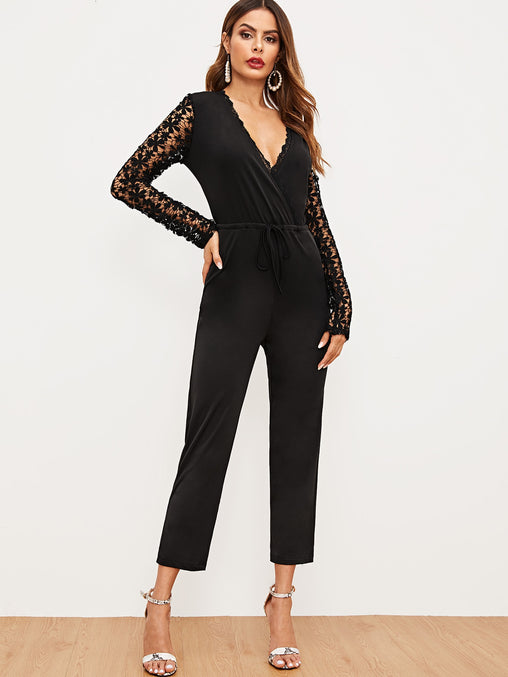 Black Hollow Out Crochet Waist Jumpsuit