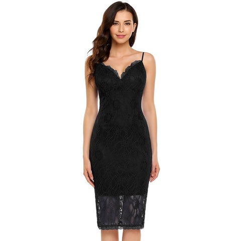 Cocktail & Party Dresses - Women's Trendy Black V-Neck Sleeveless Party Dress