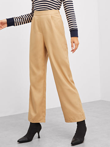 Wide Leg Pants - Women's Trendy Khaki Wide Leg Solid Pants