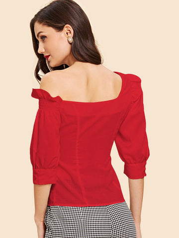 Shirts - Women's Trendy Red Button Front Square Neck Ruffle Top