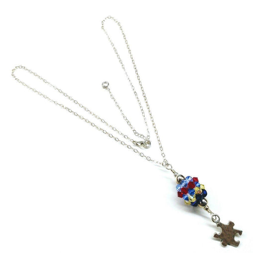 Sterling Silver Autism Awareness Crystal Barrel Necklace