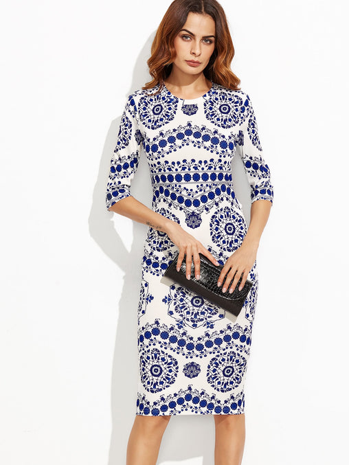 Blue Porcelain Print Pencil Dress