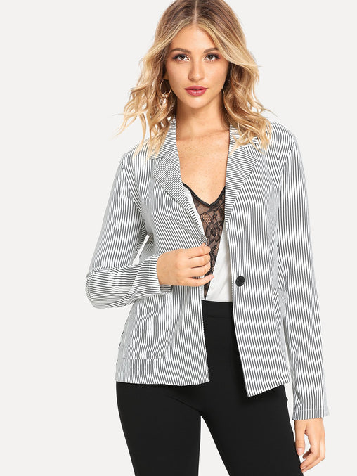 Grey Notched Collar Vertical Striped Blazer