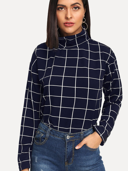 Navy Blue High Neck Grid Top