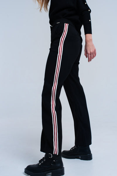 Black High Rise Striped Tapered Pant