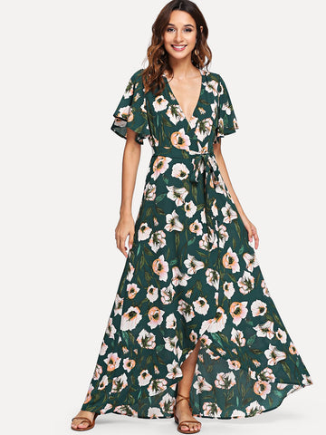 Formal Dresses - Women's Trendy Green Wrap Front Floral Print Dress