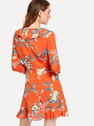 Formal Dresses - Women's Trendy Orange Floral Print Ruffle Dress