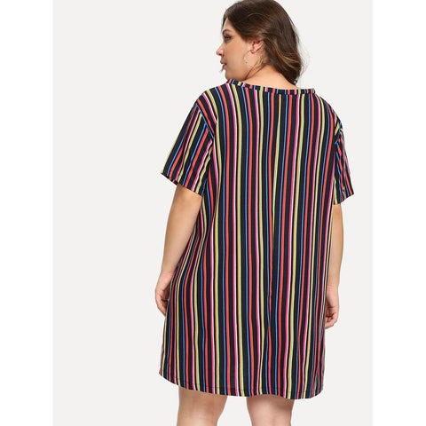 Multicolor V-Neck Pinstriped Print Dress