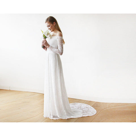 Day Dresses - Women's Trendy Ivory Long Sleeve Maxi Dress