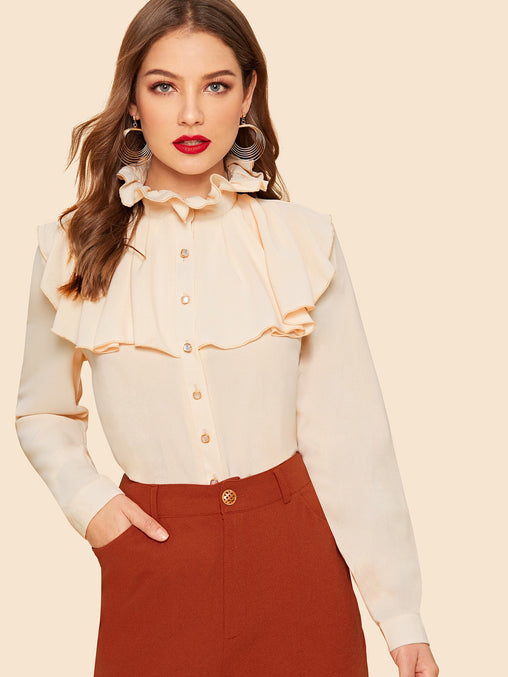 Apricot Jabot Collar Button Up Solid Shirt