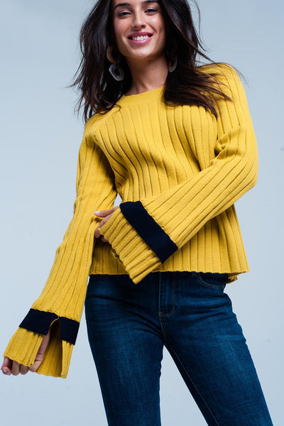 Yellow Round Neck Sleeves Sweater
