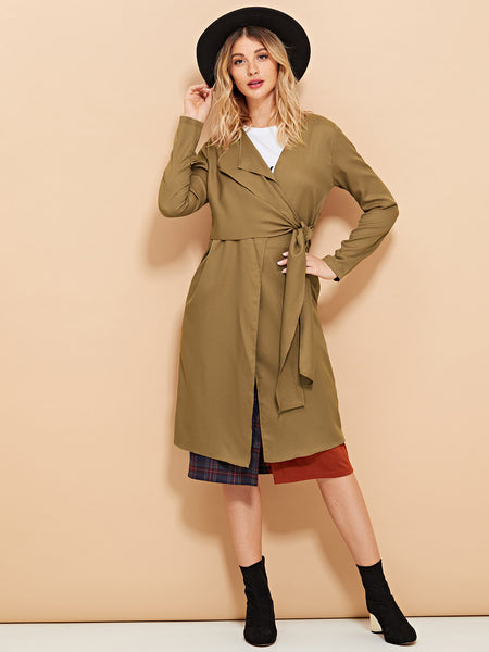 Camel Drop Collar Knotted Duster Coat