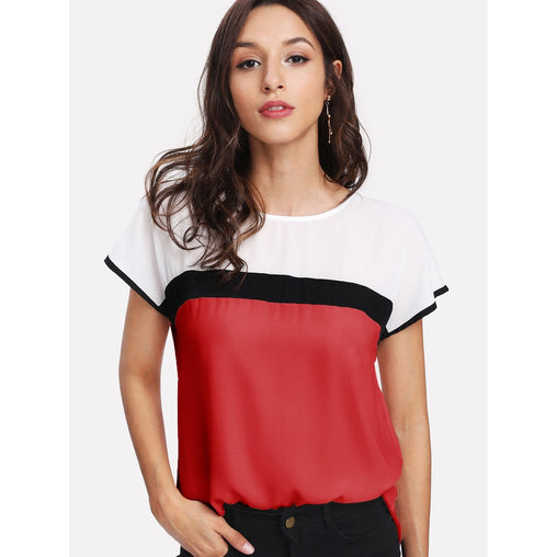 Color Block Tunic Top - Fashiontage