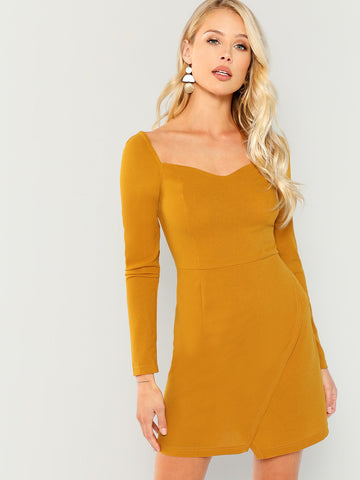 Day Dresses - Women's Trendy Ginger Wrap Sweetheart Solid Dress