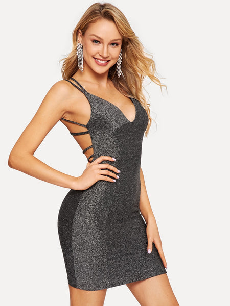 Black Strappy Backless Fitted Glitter Short Dress