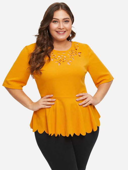 Plus Size Ginger Laser Cut Scalloped Peplum Top