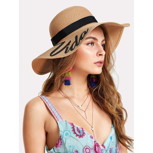 - Women's Trendy Apricot Letter Print Wide Brim Straw Hat